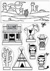 Knutselen diorama de cawboys e índios
