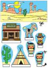Knutselen diorama de cowboy e índios