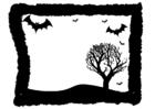 Página para colorir moldura de halloween