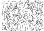 Página para colorir presépio - o nascimento de Jesus
