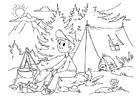 Página para colorir acampar