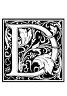 Página para colorir alfabeto decorativo - D