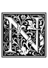 Página para colorir alfabeto decorativo - N