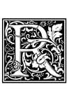 Página para colorir alfabeto decorativo -N