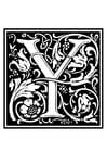 Página para colorir alfabeto decorativo - Y
