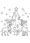 Página para colorir Árvore de natal com renas
