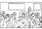 Página para colorir aula de informática