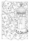 Página para colorir caixa de correio