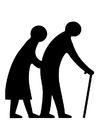 Página para colorir casal ancião