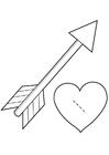 Knutselen coração com uma flecha - cupido
