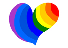 imagem coração de arco-iris