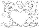 Página para colorir coração do dia dos namorados
