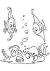 Página para colorir pescar no mar com caranguejo