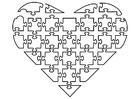 Página para colorir quebra-cabeça de coração
