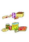 imagem alimentos saudáveis e não saudáveis