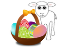 imagem cesta de Páscoa com cordeiro