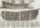 imagem corte de um veleiro de guerra de três mastros