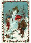 imagem crianças fazendo um boneco de neve
