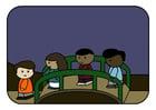 imagem crianças na ponte