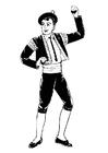 Página para colorir dançarino de bolero com castanholas
