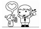 Página para colorir Dia dos Pais com a filha