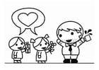 Página para colorir Dia dos Pais com filho e filha