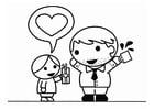 Página para colorir Dia dos Pais com o filho