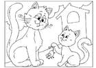 Página para colorir dia dos pais - gatinhos