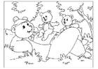 Página para colorir dia dos pais - ursos
