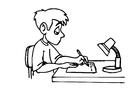 Página para colorir escrever - tarefa de casa
