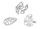 Página para colorir ferramentas de pedra