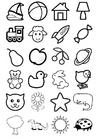 Página para colorir ícones para crianças