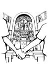 Página para colorir igreja - casamento