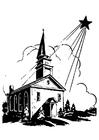 Página para colorir igreja com a estrela de Natal