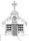 Página para colorir igreja no inverno