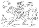 Página para colorir índio no cavalo