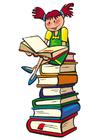 imagem ler em uma pilha de livros