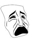 Página para colorir máscara - chorar