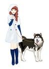 imagem menina com um cachorro