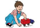 imagem menino com um carrinho