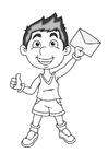 Página para colorir menino com uma carta