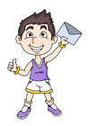 imagem menino com uma carta