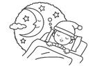 Página para colorir noite - dormir