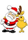 imagem Papai Noel com uma rena