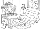 Página para colorir sala de estar
