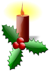 imagem vela de Natal com azevinho