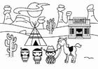 Página para colorir Velho Oeste