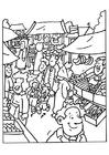 Página para colorir vendedor de mercado
