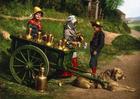 Foto vendedores de leita com charrete - 1890 Bélgica