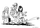 Página para colorir 3 crianças - imigrantes